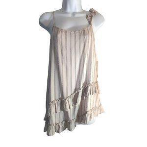 Ro & De Asymmetric Ruffled Striped Cami